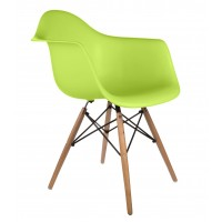 DAW Dining Armchair with Wood Eiffel Legs in Green