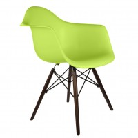 DAW Dining Armchair with Dark Walnut Eiffel Legs in Green