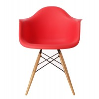 DAW Dining Armchair with Wood Eiffel Legs in Red