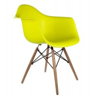 DAW Dining Armchair with Wood Eiffel Legs in Citrus Yellow