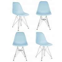4 X DSR Dining Shell Chair with Steel Eiffel Legs in Sky Blue