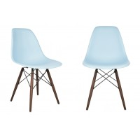 2 X Eames Style DSW Dining Shell Chair with Dark Walnut Eiffel Legs in Sky Blue