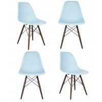 4 X Eames Style DSW Dining Shell Chair with Dark Walnut Eiffel Legs in Sky Blue