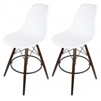 2 X White Eames Style DSW Bar Stool with Dark Walnut Wood Eiffel Legs