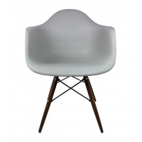 DAW Dining Armchair with Dark Walnut Wood Eiffel Legs in Gray