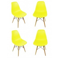 4 X Eames Style DSW Dining Shell Chair with Wood Eiffel Legs in Citrus Yellow