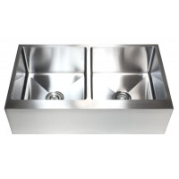 36 Inch Stainless Steel Flat Front Farm Apron Kitchen Sink 50/50 Double Bowl 15mm Radius Design