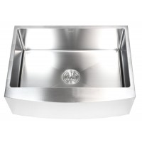 30 Inch Stainless Steel Curved Front Farm Apron Kitchen Sink - 15mm Radius Design Single Bowl
