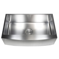 36 Inch Stainless Steel Curved Front Farm Apron Kitchen Sink - 15mm Radius Design Single Bowl