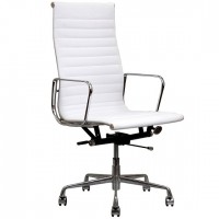 Eames Style Executive Designer Top Grain Leather High Office Chair In White