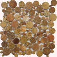Brown Flat Pebble Marble Mosaic Circle Tile Mesh Backed Sheet