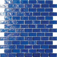 Cobalt Blue Irredescent Reflection Rippled Glass Brick Mosaic Tile Mesh Backed Sheet