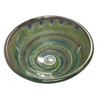 16-1/2 Inch Mystical Twist Design Glass Countertop Bathroom Lavatory Vessel Sink