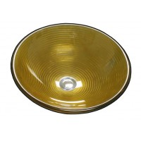 16-1/2 Inch Golden Zoom Design Glass Countertop Bathroom Lavatory Vessel Sink