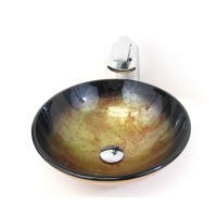 16-1/2 Inch Gold Sparkles Galaxy Pattern Glass Countertop Bathroom Lavatory Vessel Sink
