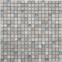 Frosted Gray Blend Rippled Glass Mosaic Tile Mesh Backed Sheet