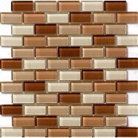 Glossy Brown Cappuccino Blend Glass Brick Mosaic Tile Mesh Backed Sheet