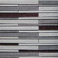 Glossy Twinkle Silver and Purple Blend Glass Stick Mosaic Tile Mesh Backed Sheet
