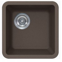 Mocha Brown Quartz Composite Undermount Kitchen Sink - 14-7/8 x 14-7/8 x 7 Inch