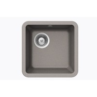Chrome Quartz Composite Undermount Kitchen Sink - 14-7/8 x 14-7/8 x 7 Inch