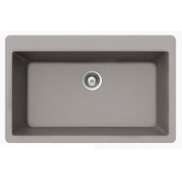 Chrome Quartz Composite Single Bowl Undermount / Drop In Kitchen Sink - 33 x 21 x 9 Inch
