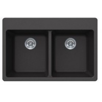 Black Quartz Composite Double Bowl Undermount / Drop In Kitchen Sink - 33 x 22 x 9 Inch