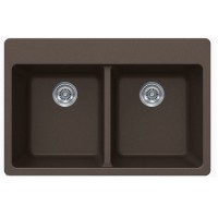 Mocah Brown Quartz Composite Double Bowl Undermount / Drop In Kitchen Sink - 33 x 22 x 9 Inch