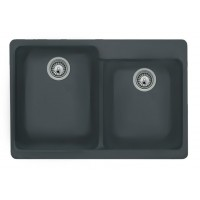 Black Quartz Composite 60/40 Double Bowl Undermount / Drop In Kitchen Sink - 33-1/16 x 22 x 9-3/4 Inch