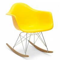 Eames Style RAR Plastic Rocking Chair with Steel Eiffel Legs in Citrus Yellow