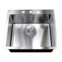 25 Inch Top-Mount / Drop-In Stainless Steel Single Bowl Kitchen Island / Bar Sink 15mm Radius Design