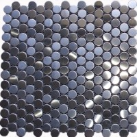 Round Stainless Steel Mosaic Tile Mesh Backed Sheet