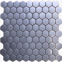 Hexagon Stainless Steel Mosaic Tile Mesh Backed Sheet