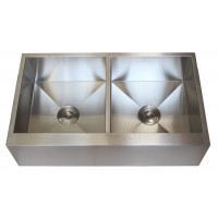 36 Inch Stainless Steel Flat Front Farmhouse Apron Kitchen Sink 50/50 Double Bowl