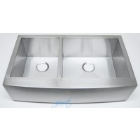 36 Inch Stainless Steel Curved Front Farm Apron Kitchen Sink - 40/60 Double Bowl 16 Gauge
