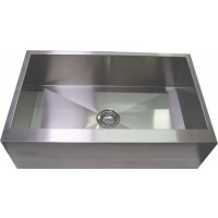 33 Inch Stainless Steel Flat Front Farm Apron Kitchen Sink - Single Bowl