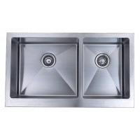 36 Inch Stainless Steel Flat Front Farm Apron Kitchen Sink 60/40 Double Bowl
