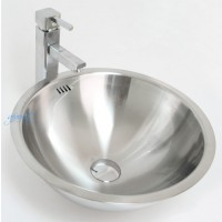 Round 18 Gauge Stainless Steel Drop-in / Undermount / Countertop Bathroom Vessel Sink - 16-1/4 x 7 Inch