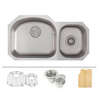 32 Inch Stainless Steel Undermount 60/40 Double D-Bowl Offset Kitchen Sink - 16 Gauge FREE ACCESSORIES