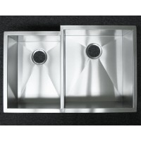 33 Inch Stainless Steel Undermount Offset Double Bowl Kitchen Sink Zero Radius Design