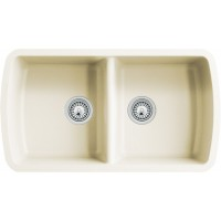 Beige Quartz Composite 50/50 Double Bowl Undermount Kitchen Sink - 33-1/16 x 18-15/16 x 9-3/8 Inch