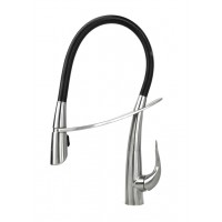 Swan Style Solid Stainless Steel Lead Free Single Handle Pull Out Sprayer Kitchen Mixer Faucet