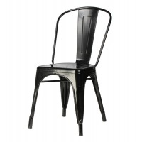 Tolix Style Metal Industrial Loft Designer Cafe Chair in Black