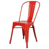 Tolix Style Metal Industrial Loft Designer Cafe Chair in Red