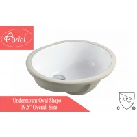 19-1/2 Inch Porcelain Ceramic Vanity Undermount Bathroom Vessel Sink