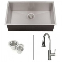 32 Inch Zero Radius Stainless Steel Undermount Single Bowl Kitchen Sink and Lead Free Faucet COMBO
