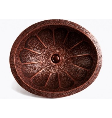 Flower Pattern Natural Coffee Hand Hammered Finish Copper Undermount / Drop In Bathroom Sink - 17 x 14 x 5-1/2 Inch