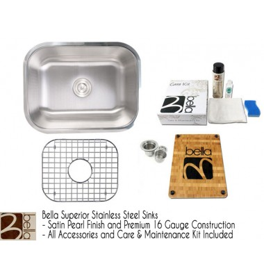 Bella 23 Inch Stainless Steel Single Bowl Kitchen Sink - Premium 16 Gauge Bella Series w/ FREE ACCESSORIES