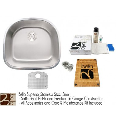 Bella 23 Inch Stainless Steel D-Bowl Offset Kitchen Bar Sink - Premium 16 Gauge w/ FREE ACCESSORIES