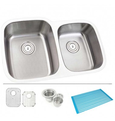 32 Inch Stainless Steel Undermount Double Bowl 60/40 Offset Kitchen Sink - 16 Gauge FREE ACCESSORIES