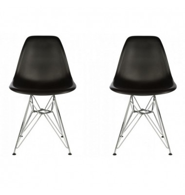 2 X DSR Dining Shell Chair with Steel Eiffel Legs in Black